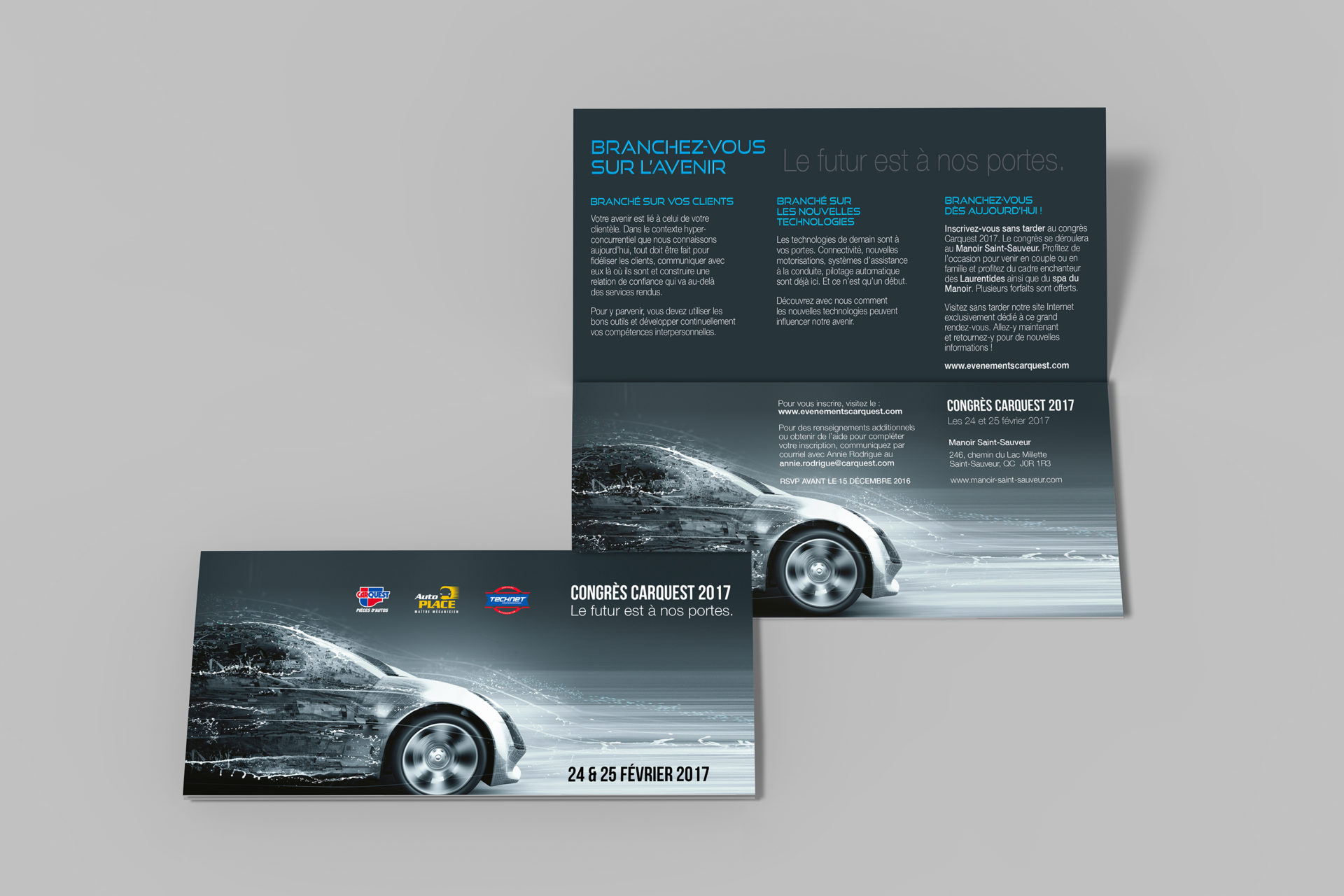 Bi-fold dl horizontal brochure, mock up template on isolated whi